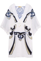 Emilio Pucci Appliqued Cotton And Silk Blend Kaftan White