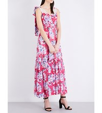 Claudie Pierlot Rosace Chiffon Maxi Dress Fuchsia