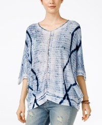 Lucky Brand Tie Dyed Crochet Detail Top Blue Multi