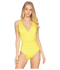 Jantzen Solid Draped One Piece Go Bananas Swimsuits One Piece Yellow