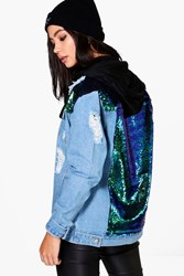 Boohoo Sequin Yoke Denim Jacket Blue