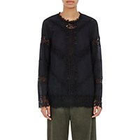R R Studio Women's Embroidered Lace Inset Blouse Black Blue Black Blue
