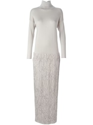Brunello Cucinelli Sequin Roll Neck Combo Gown Grey