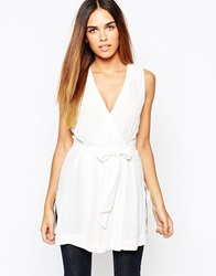 Warehouse Belted Wrap Tunic Top White