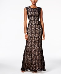 Betsy And Adam B A By Lace Mermaid Gown Black Nude