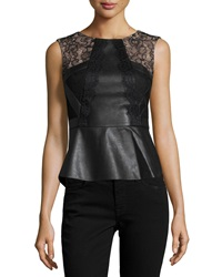 Bcbgmaxazria Laine Faux Leather Peplum Top Black