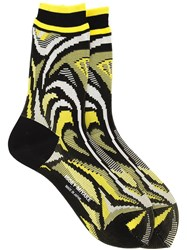 Issey Miyake Intarsia Knit Socks Yellow And Orange