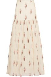 Vilshenko Trudy Floral Print Silk Organdy Maxi Skirt Off White