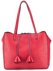Etro Paisley Embossed Tote Red