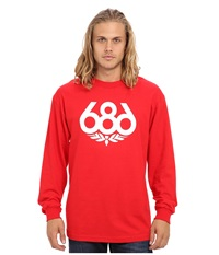 686 Wreath L S T Shirt Red Men's Long Sleeve Pullover