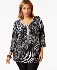 Jm Collection Woman Jm Collection Plus Size Embellished Split Neck Animal Print Tunic Top Only At Macy's