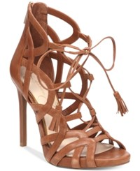 Jessica Simpson Racine Lace Up High Heel Gladiator Sandals Women's Shoes Burnt Umber
