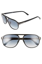 Tom Ford Women's Jacob 61Mm Special Fit Aviator Sunglasses Shiny Black Gradient Green Shiny Black Gradient Green