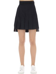 Thom Browne Super High Waist Pleated Wool Mini Skirt Navy