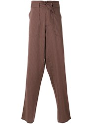 Andrea Pompilio Belted Striped Trousers Red