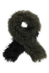 Karl Donoghue Two Tone Shearling Scarf Army Green