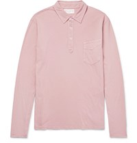 Officine Generale Slim Fit Garment Dyed Cotton Jersey Polo Shirt Pink