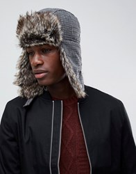 New Look Trapper Hat In Grey And Brown Check Brown Pattern