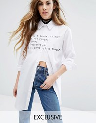 Reclaimed Vintage X Romeo And Juliet Long Sleeve Shirt With Love Quote White