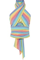 Mds Stripes Everything Cropped Striped Cotton Poplin Wrap Top Pink Gbp