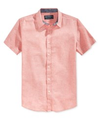 American Rag Men's Mandarin Short Sleeve Shirt Only At Macy's Sunbaked Clay