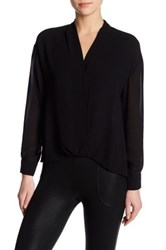 David Lerner Surplice Neck Long Sleeve Blouse Black