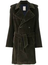 Palto Double Breasted Coat Cotton Polyester Green