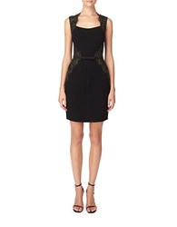 Erin Fetherston Fitted Lace Accented Sheath Dress Black Gold