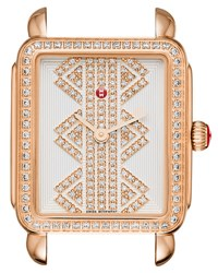 Michele 16Mm Deco Ll Mid Rose Gold Watch Head With Pattern Diamond Dial