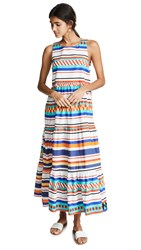 Mds Stripes Peasant Dress Aztec Print
