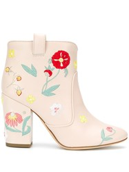 Laurence Dacade Floral Embroidered Ankle Boots Pink