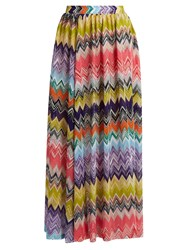 Missoni Mare Zigzag Knit Side Slit Maxi Skirt Pink Multi