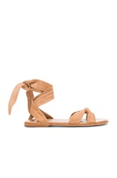 Zimmermann Loop Knot Ankle Tie Suede Sandals In Neutrals
