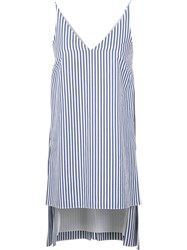 Adam By Adam Lippes Striped Deep V Neck Tunic Blue
