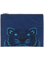Kenzo Tiger Clutch Polyester Blue