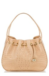 Brahmin Amy Embossed Leather Drawstring Bucket Bag