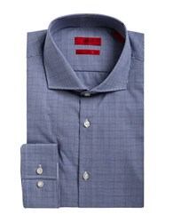 Hugo Slim Fit Check Dress Shirt Navy