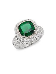 Saks Fifth Avenue Cubic Zirconia And Emerald Ring