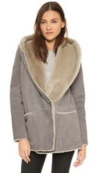 Vince Hooded Shearling Coat Charcoal