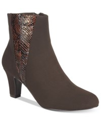 Easy Street Shoes Endear Booties Women's Brown Suede