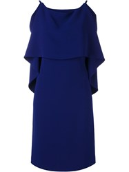 Alberto Biani V Back Draped Dress Blue