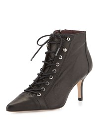Etienne Aigner Lana Leather Lace Up Bootie Black