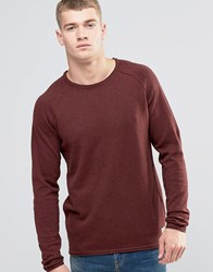 Jack And Jones Vintage Raw Edge Crew Neck Knitted Jumper Burgundy Red