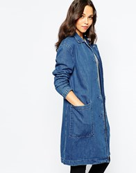 Pull And Bear Pullandbear Denim Coat Azul