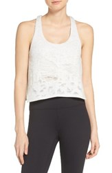 Alo Yoga Women's Step Crop Tank White Heather Distressed