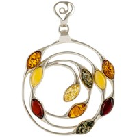 Be Jewelled Sterling Silver Baltic Amber Medallion Pendant Necklace Multi