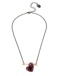 Betsey Johnson Pave Heart And Arrow Pendant Necklace Red