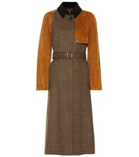 Salvatore Ferragamo Checked Wool And Suede Trench Coat Brown