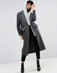 Asos Coat In Boyfriend Fit And Mono Textured Fabric Multi