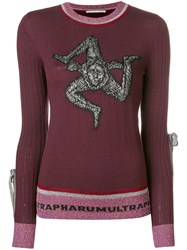 Marco De Vincenzo Lana Crew Neck Jumper Pink And Purple